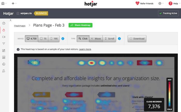 Best UX Analytics Tools - Hotjar