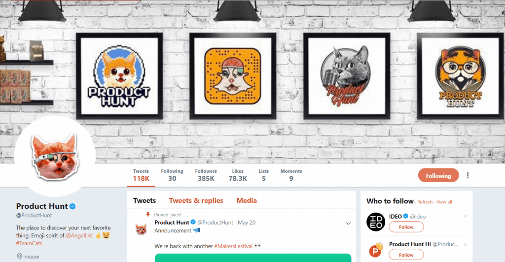 product hunt guide - ph twitter page