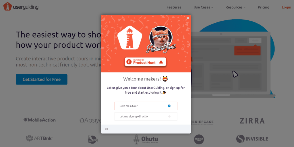 UserGuiding product hunt launch guide - using our own tool