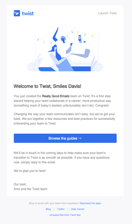 email onboarding welcome action