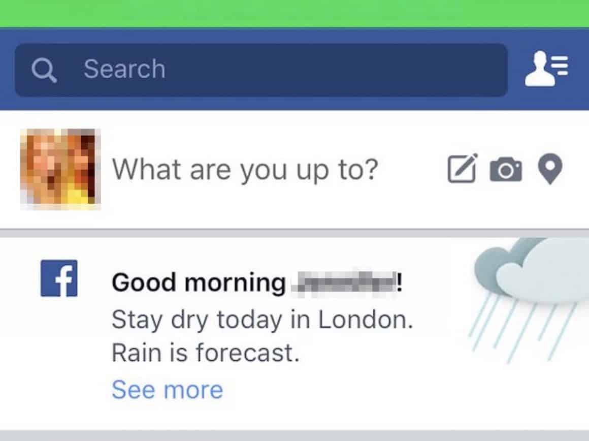 facebook weather forecast good ux