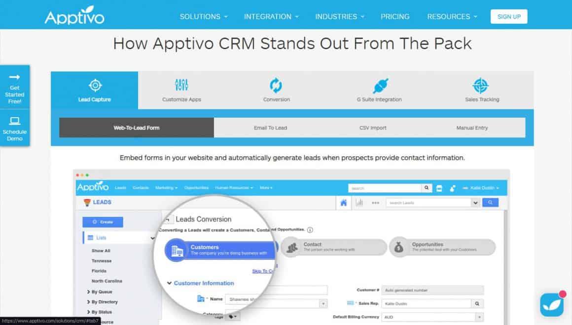 best crm tools apptivo