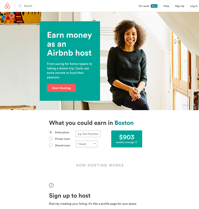 welcome page examples airbnb