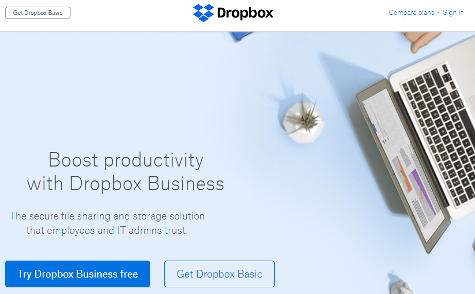 welcome page examples dropbox
