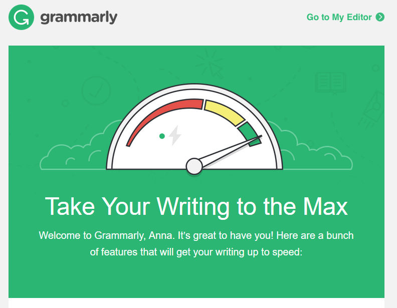 welcome page examples grammarly
