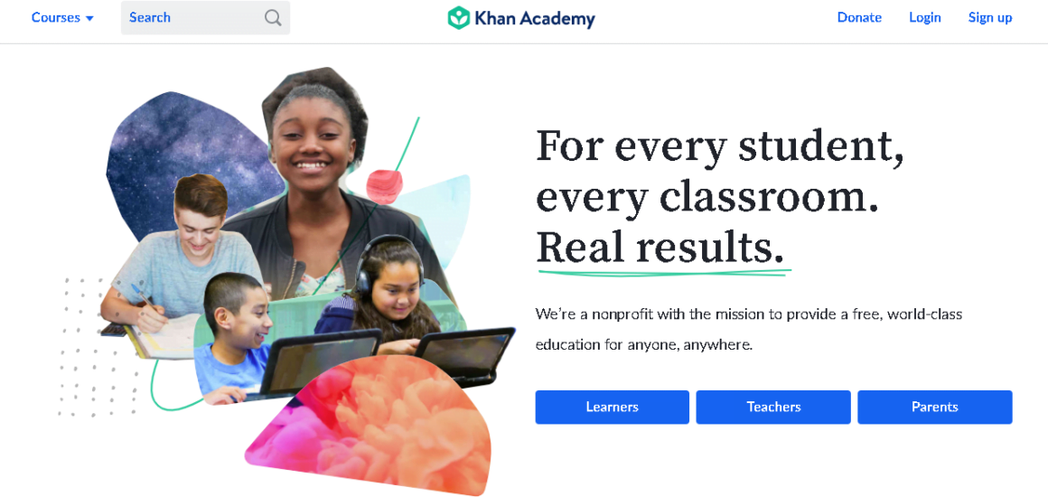 welcome page examples khan academy