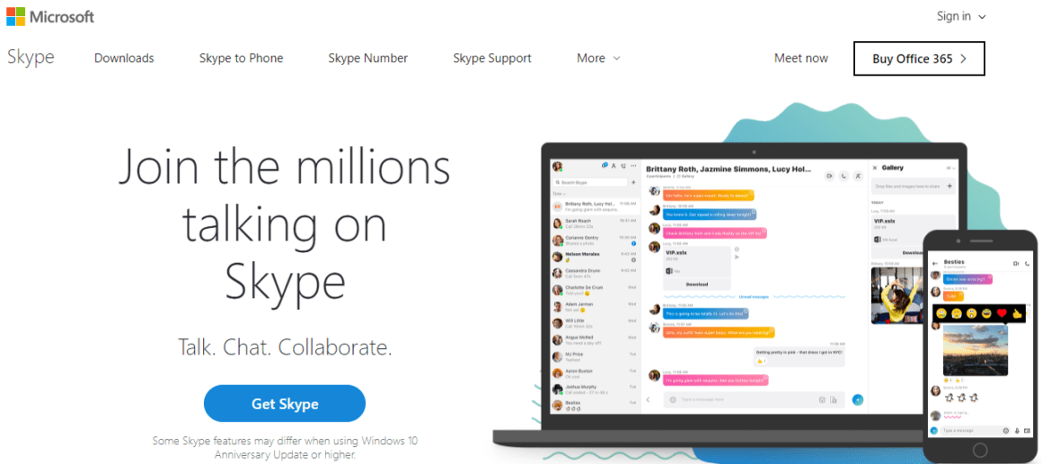 welcome page examples skype