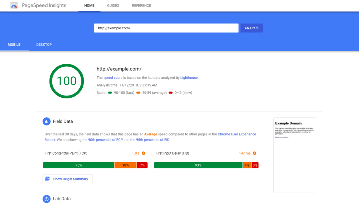 landing page tools pagespeed insights