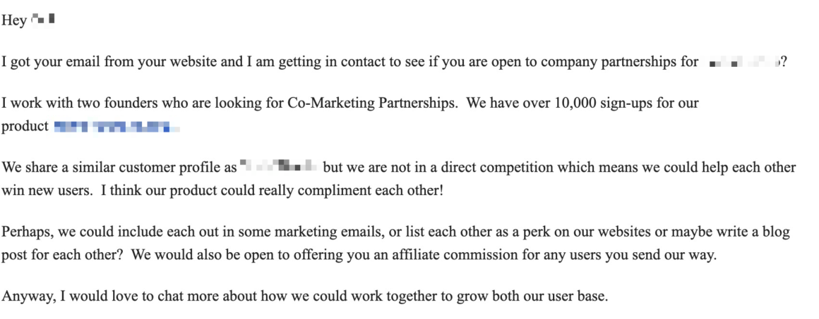 email outreach example