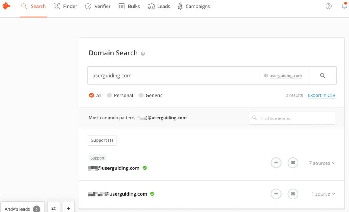 userguiding domain search hunterio