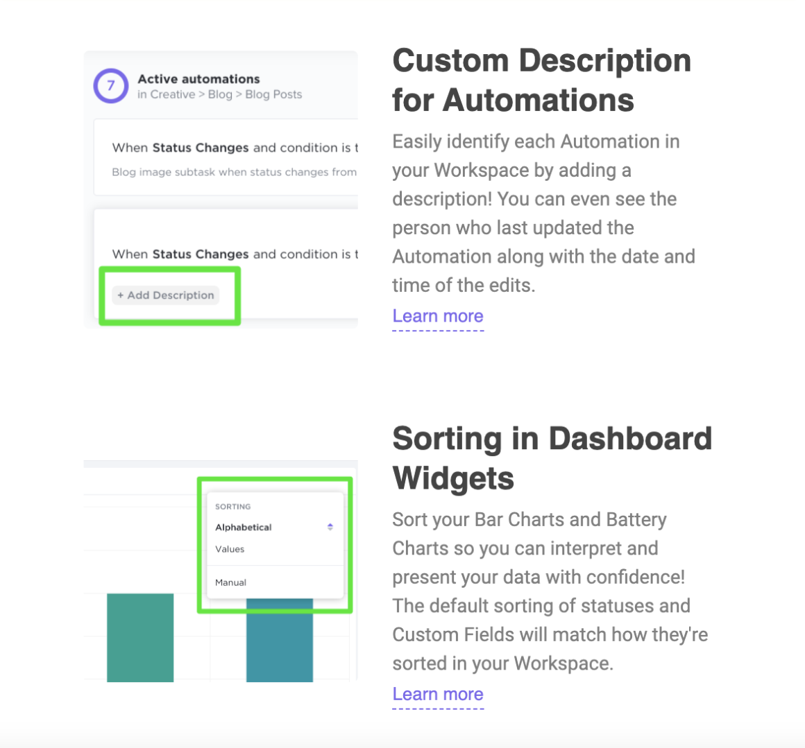 product update examples clickup 2