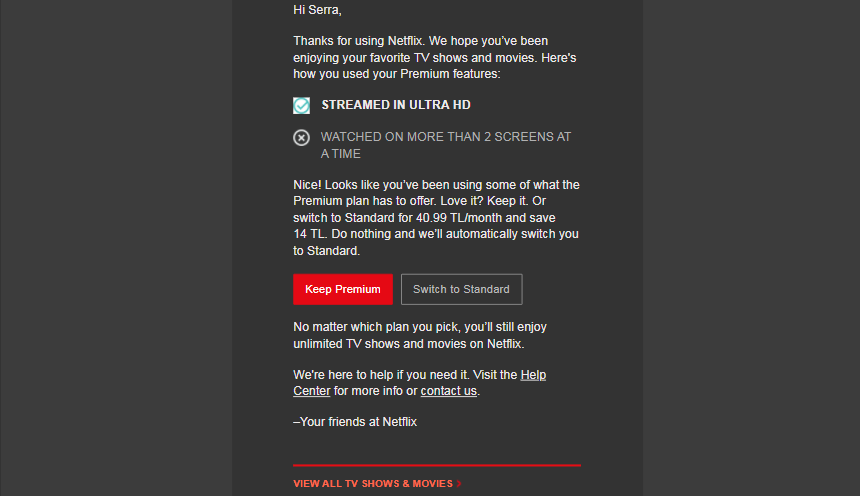 how to retain customers netflix email follow up