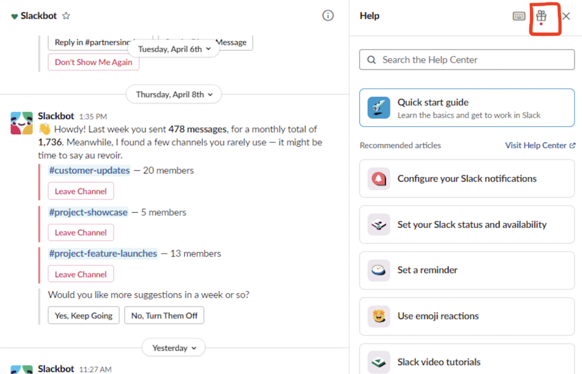 product update examples slack 2