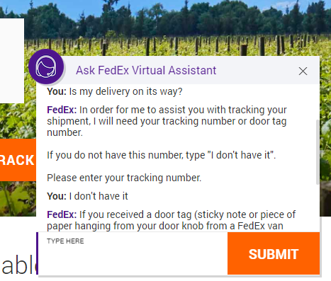 customer support examples fedex chatbot