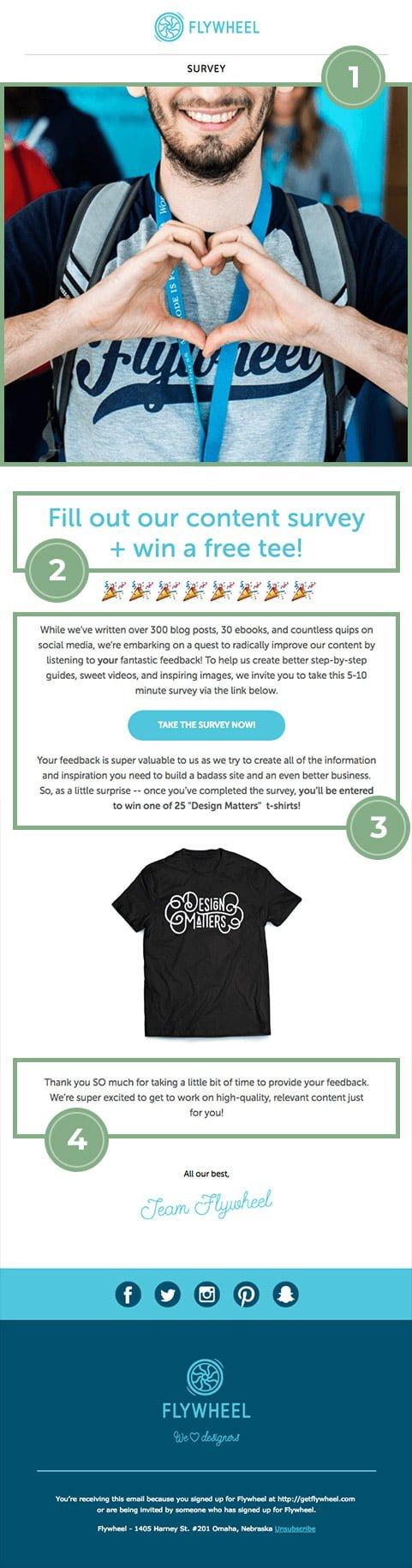 flywheel customer feedback email example