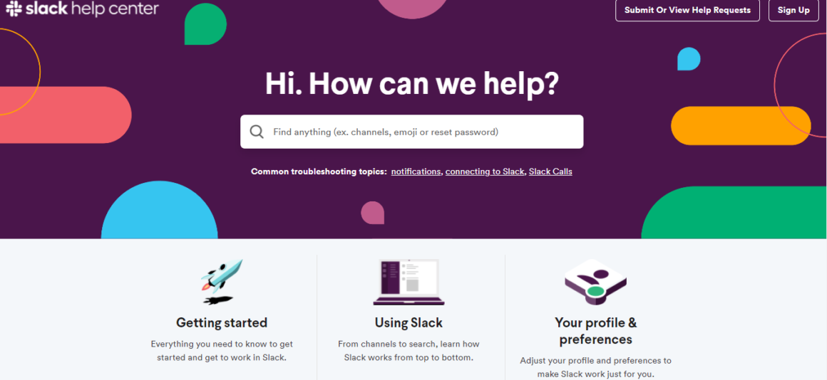 help center software examples slack