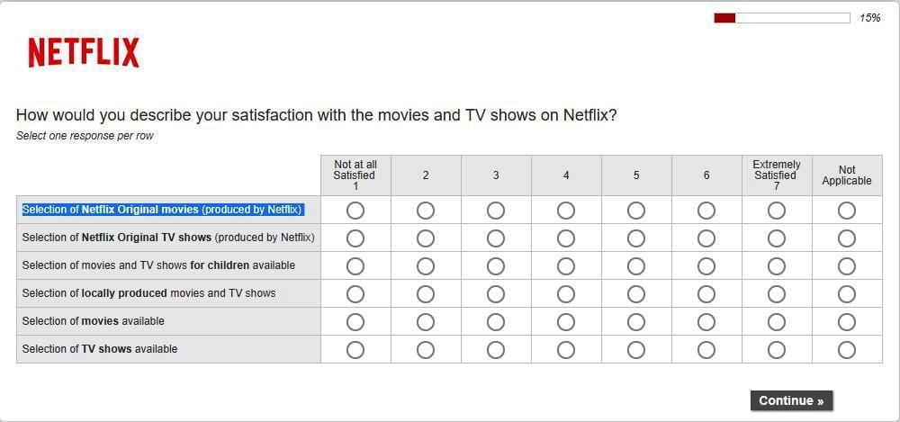 netflix customer feedback survey example