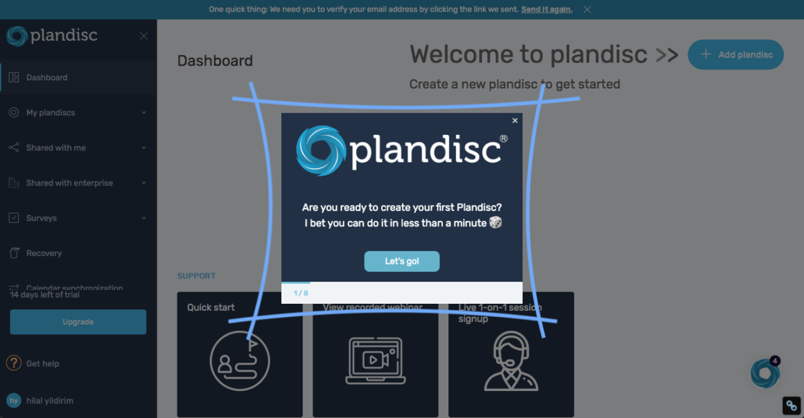 Plandisc welcome modal