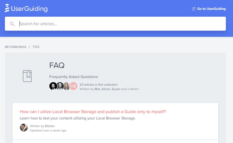 userguiding saas customer support example