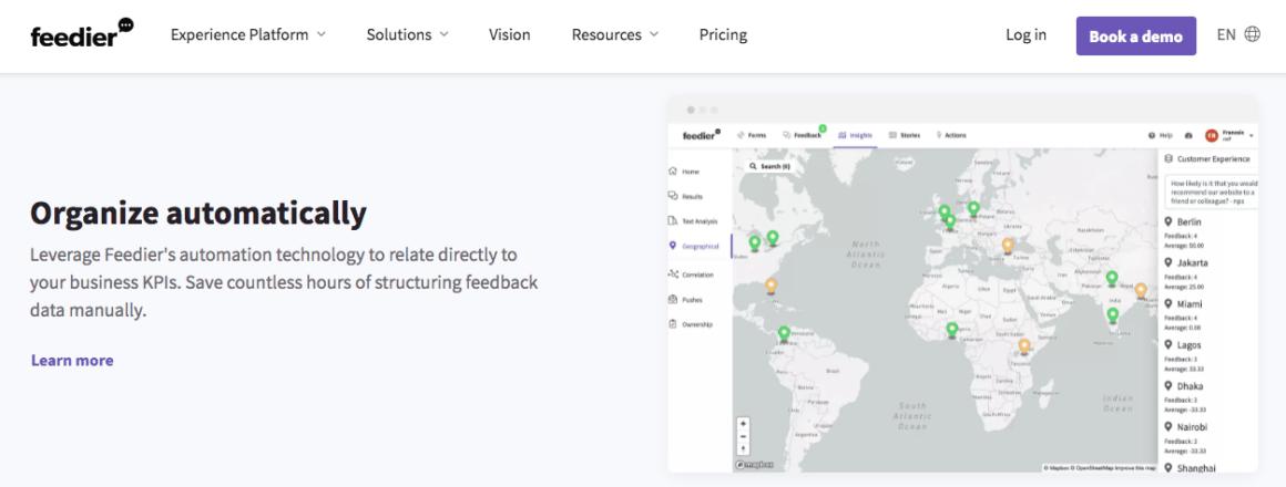 Feedier's location-based customization feature