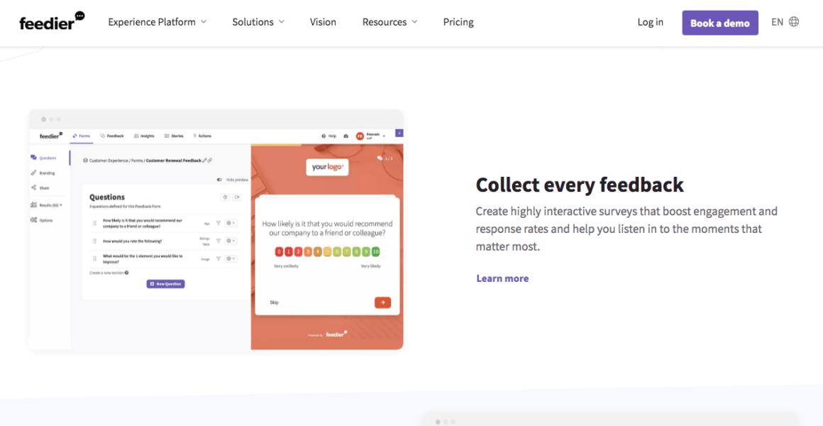 Feedier's feedback feature