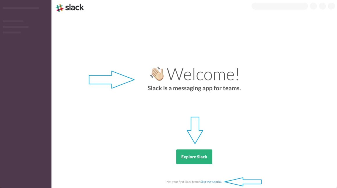 first time user experience example from Slack