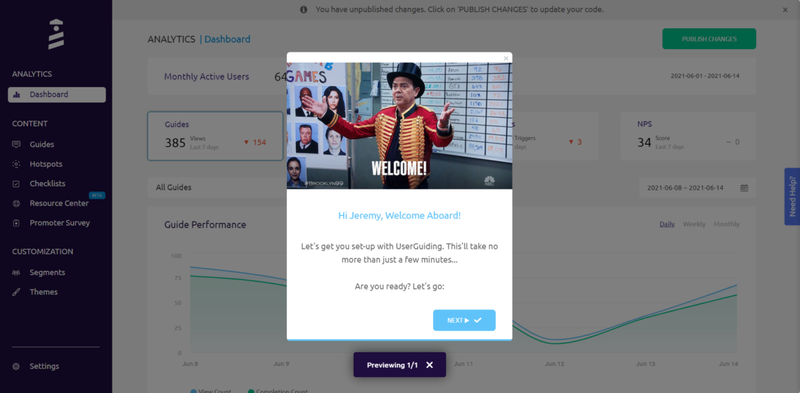 interactive user manual welcome modal