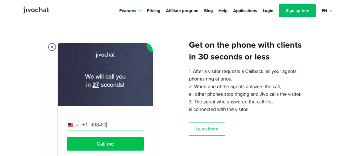 Jivochat's call management feature