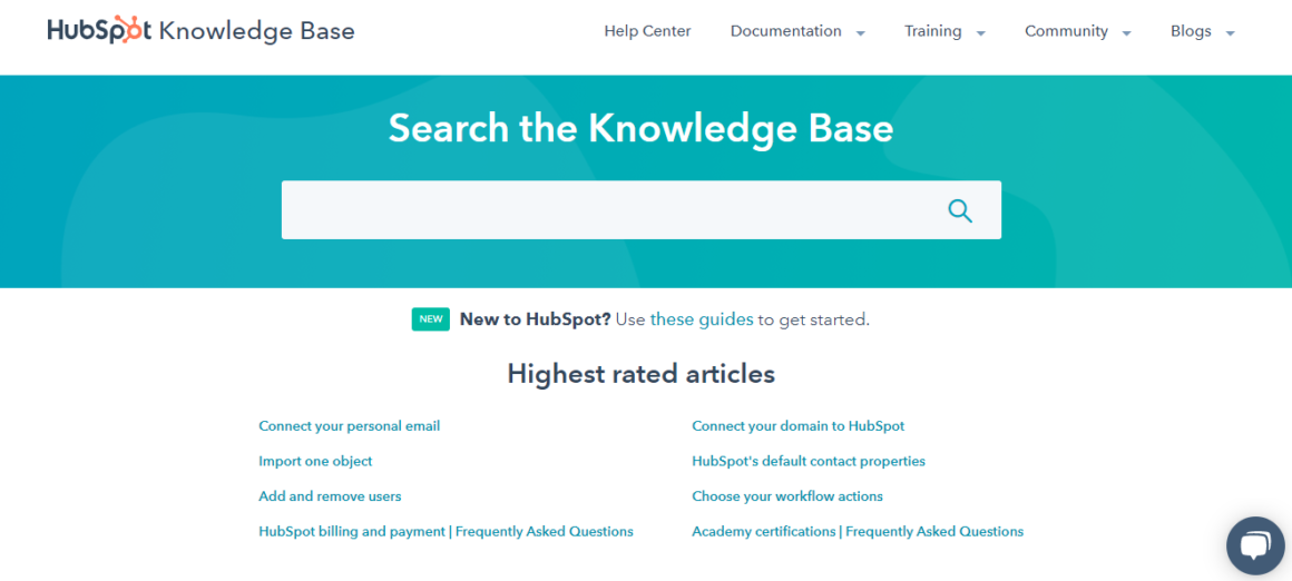 knowledge base examples hubspot