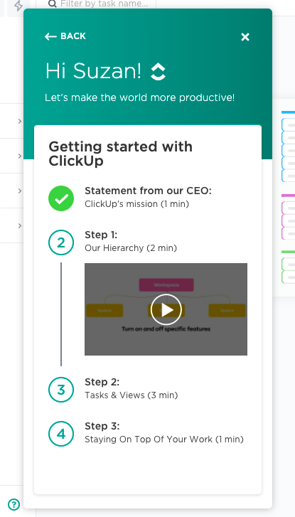 onboarding ux clickup
