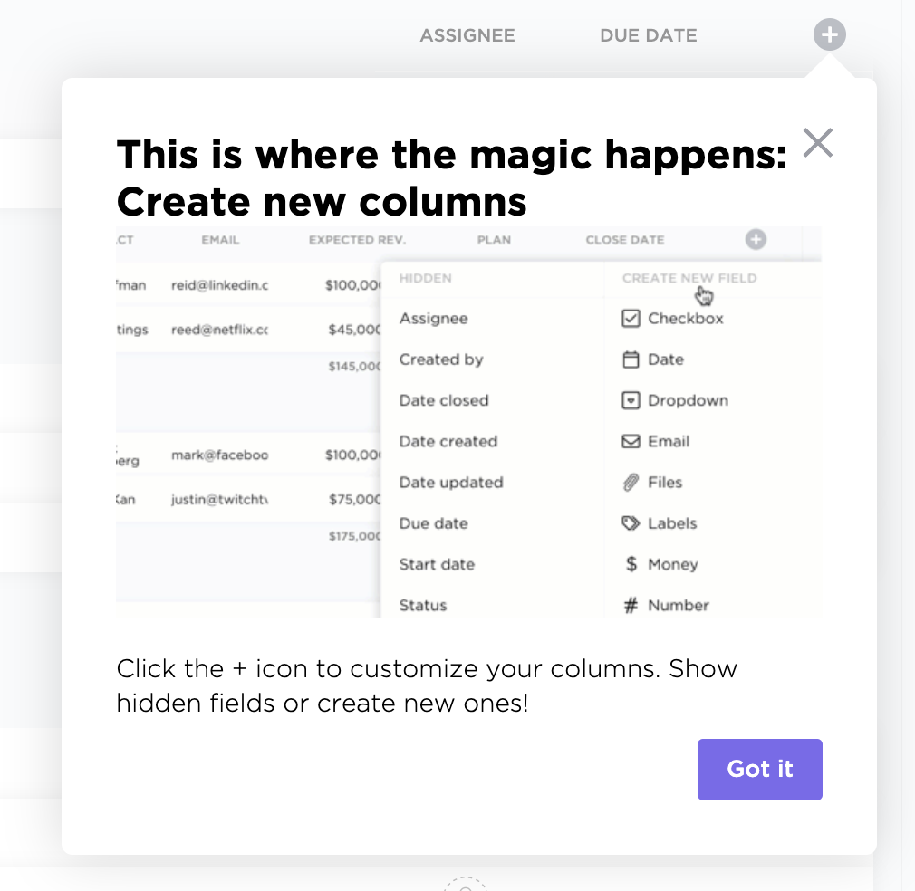 onboarding ux clickup tool tip