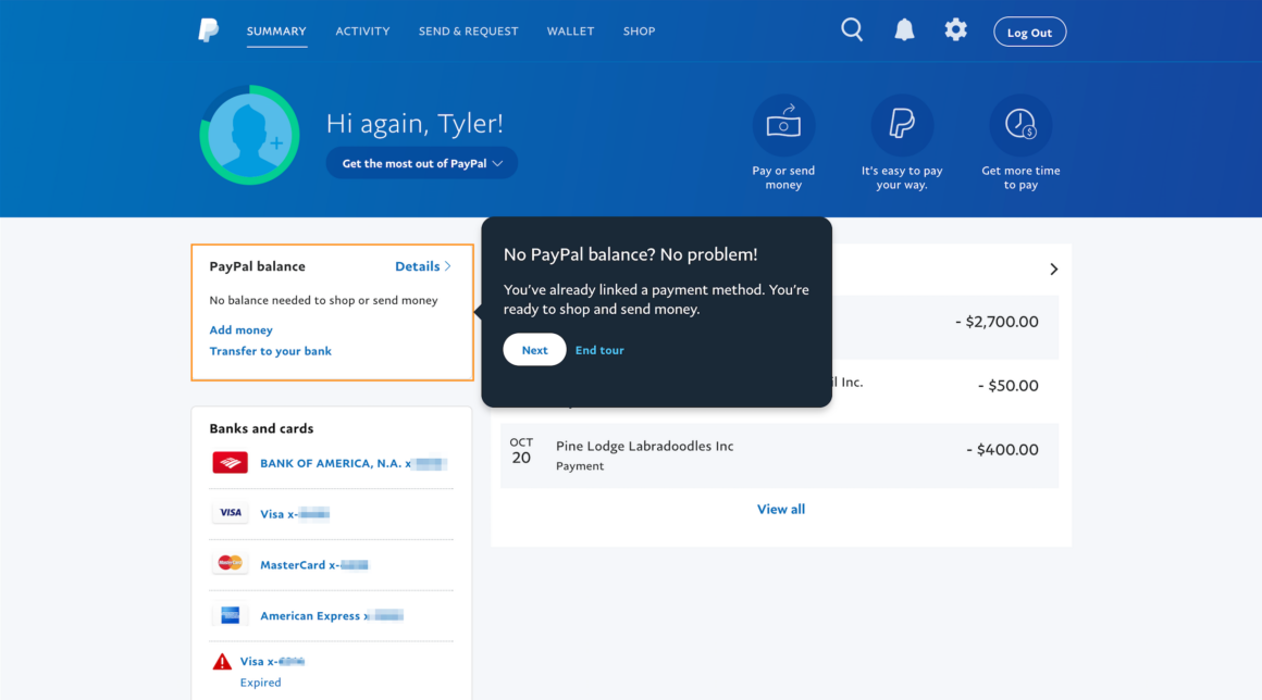 onboarding ux patterns paypal