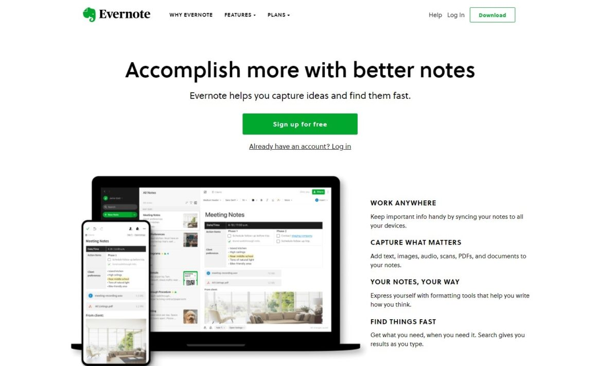 project management tools evernote