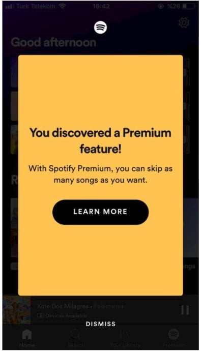 spotify in-app message example