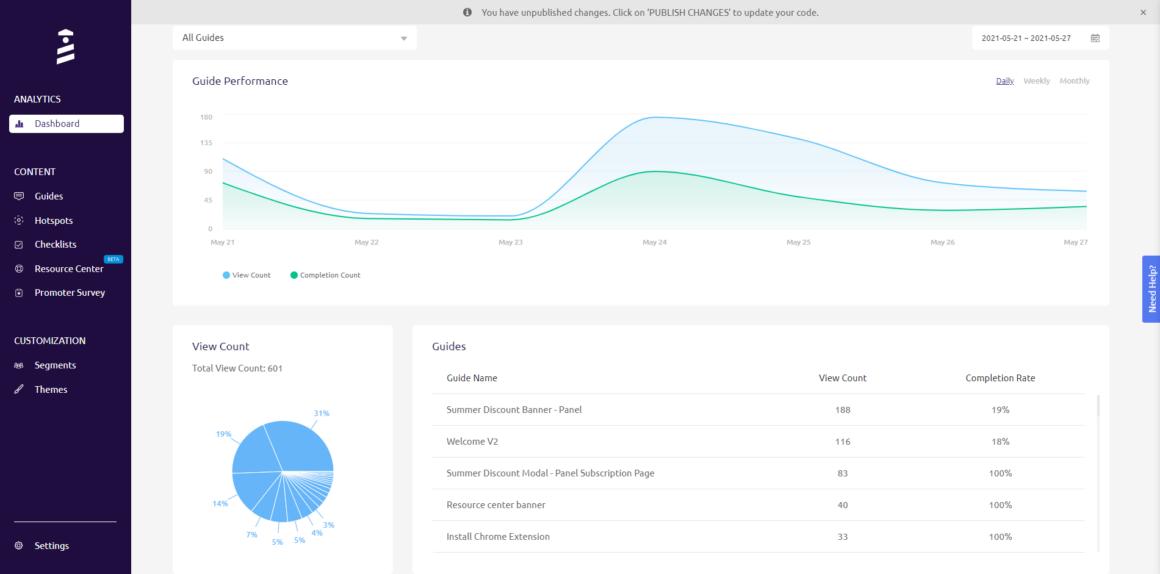 interactive user manual analytics