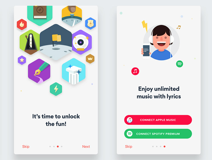 CTA examples for mobile onboarding