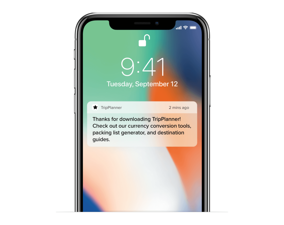 push notification for onboarding example
