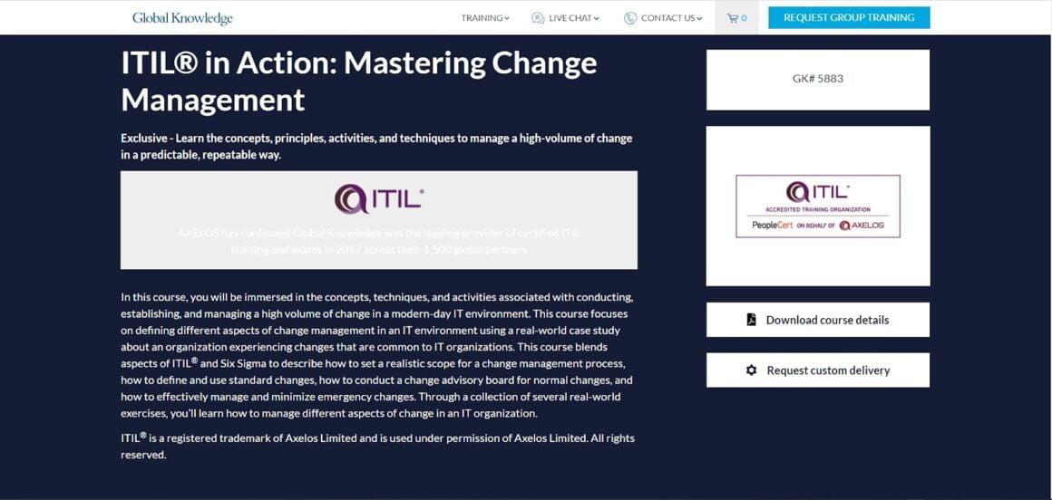 ITIL Mastering Change Management Certification