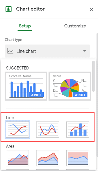 Line Graph Options in Google Sheets