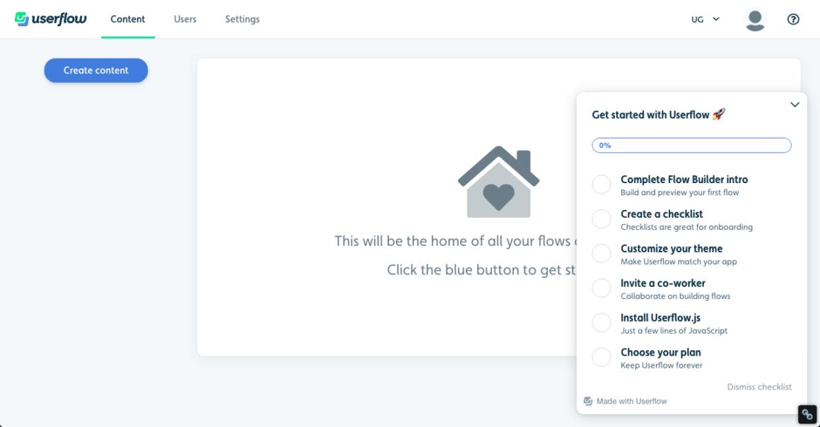 Userflow dashboard